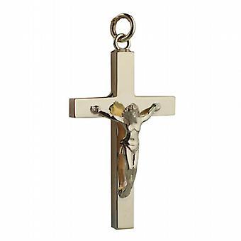 9ct золота 40x25mm цельного распятия крест