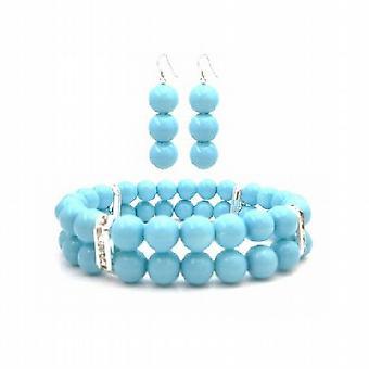 Fantastico Braclet & orecchini in colore blu perla gioielli della piscina
