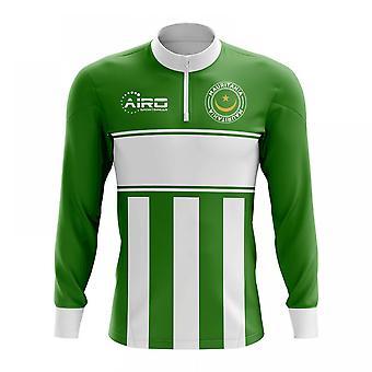 Mauritanian käsite jalkapallo puoli Lämmin Powerstretch-paita vetoketjukauluksella (vihreä-valkoinen)
