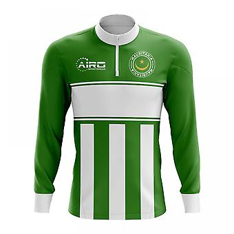 Mauritánia koncept futbal Half zips Midlayer top (zelená-biela)