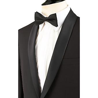 Chłopcy Dobell czarny Smoking marynarka smokingowa regularne pasuje szal klapie