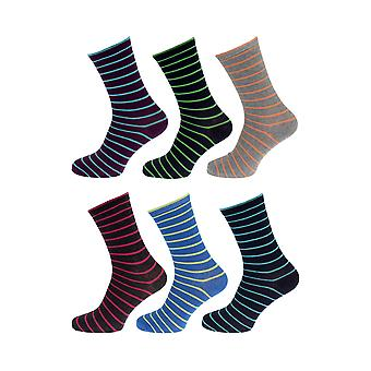 Tom Franks Mens Cotton Rich Striped Socks (6 Pairs)