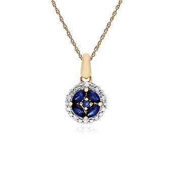 klassisk marquise safir & diamant halo cluster anheng halskjede i 9ct gult gull 135P1705029