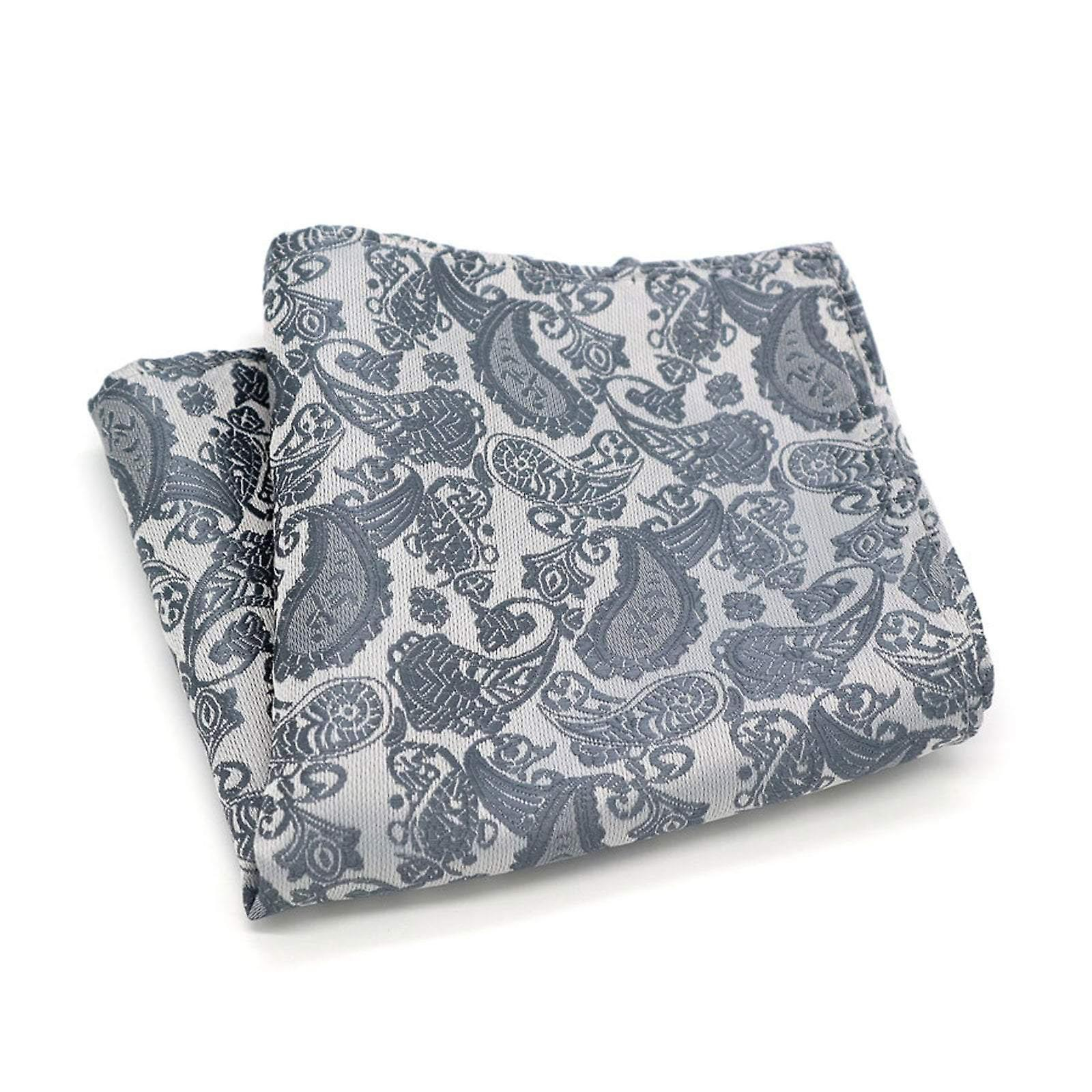 Light grey & silver paisley dinner event pocket square