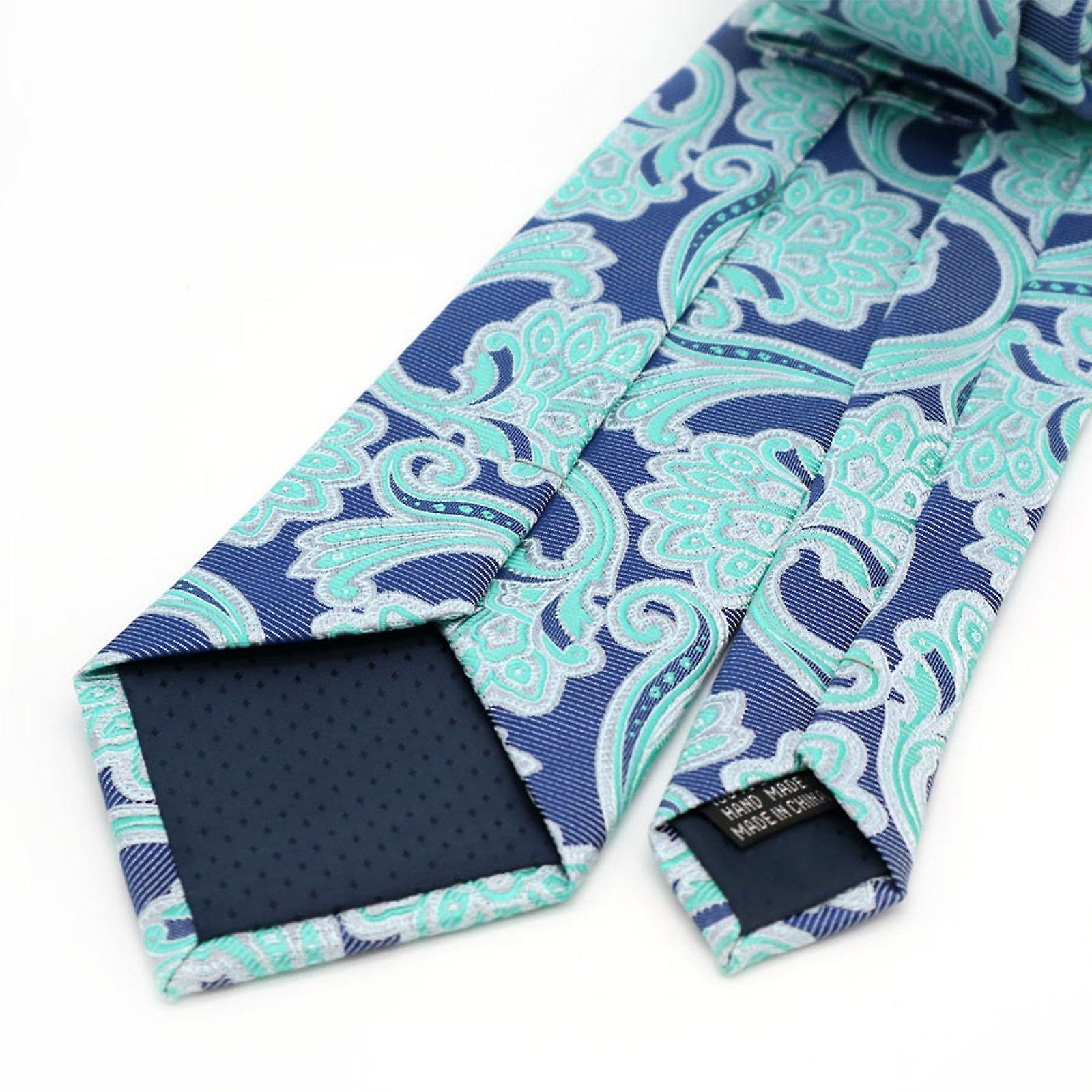 Lime green & purple pattern pocket square & tie set