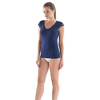 BlackSpade 1348 Women's Comfort Classics Navy Blue Lace Short Sleeve Top