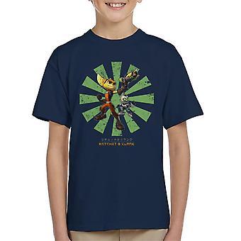 Ratchet i Clank retro japoński dziecięcy T-shirt