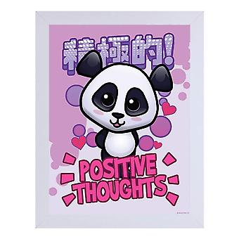 Handa Panda Positive Thoughts White Wooden Framed Print