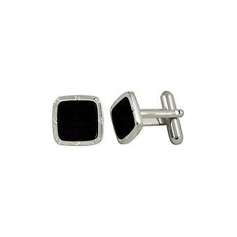 Eternal Collection Midnight Black Smalto Quadrato Tono Bianco Cufflinks