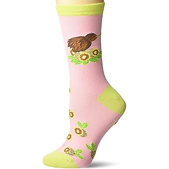 Women's Crew Socks - K Bell - Kiwi Bird Pink (9-11)