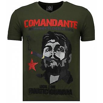 T-shirt Che Guevara Comandante-Rhinestone-Vert