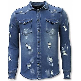 Denim Shirt-Slim Fit Damaged Allover-Blue