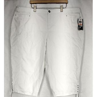 Style & Co. Plus Pants Tummy Control Capri Style White Womens
