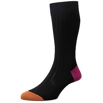 Pantherella Portobello Contrast Heel and Toe Socks - Black/Fuchsia/Cumin Orange