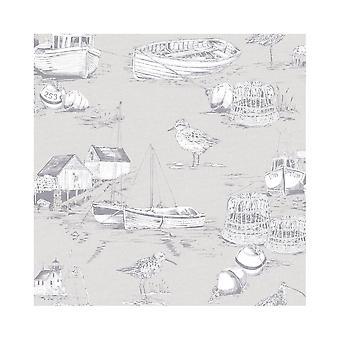 Arthouse Curley Bay barcos aves beira-mar liso barcos de pesca wallpaper 905004