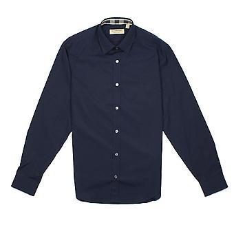 Burberry Кембридж Длинные рукава рубашка военно-морского флота синий