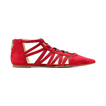 Michael Kors Clarissa strappy lace-up Flats lyse rødt ruskind 5,5 M os