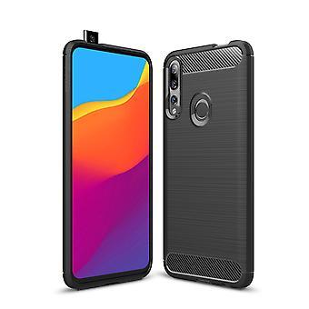 Huawei Y9 Prime 2019 TPU Case Carbon Fiber Optik Brushed Schutz Hülle Grau