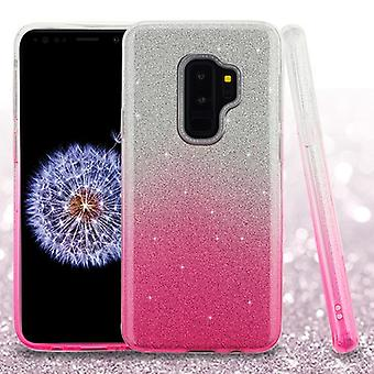 ASMYNA Pink Gradient Glitter Hybrid Case for Galaxy S9 Plus