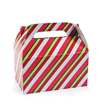 SALE - 12 Christmas Stripe Party Food Lunch or Treat Boxes
