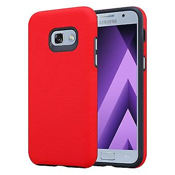Custodia Cadorabo per Samsung Galaxy A5 2017 in NELKEN RED – Custodia per telefono esterna con superficie Extra Grip Anti Slip in Triangle Design in silicone e plastica - Custodia protettiva Custodia rigida